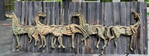 Vintage 1960s Bronze Metal Horse Equestrian Sculpture Wall Hanging Mid Century