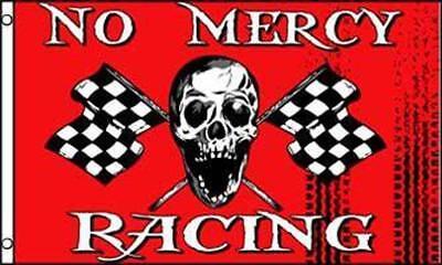 RED NO MERCY CHECKERED RACING  3 X 5 FLAG FL765 banner w grommets SKELETON BONES