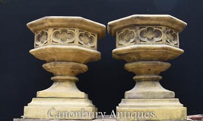 Gothic Stone Garden Urns - Octagonal on Pedestal Base Architectural