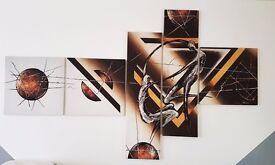 XXL Canvas Abstract Bild Bilder Wall Print 5 parts 210 x 110 cm