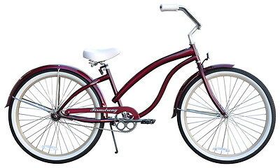 "26"" Beach Cruiser Bike Firmstrong Bella Fashionista Lady Dark Red"