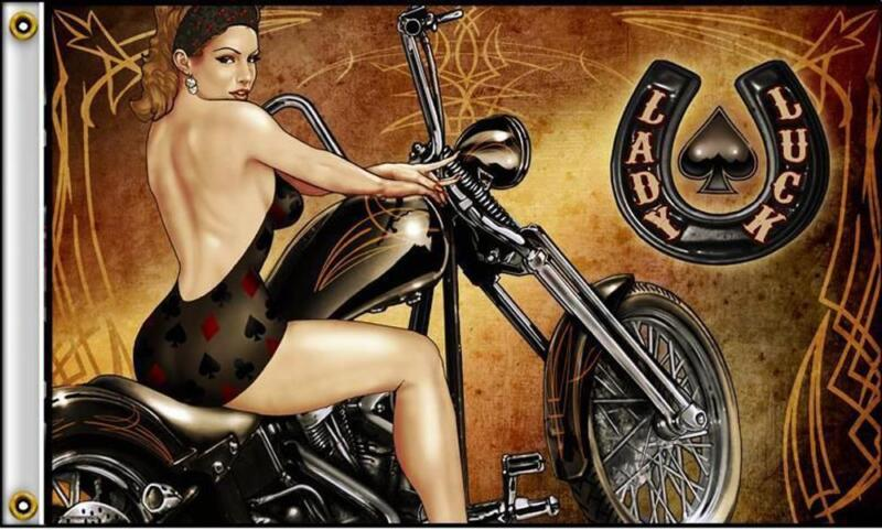 LADY RIDING BIKE  LUCKY 3 X 5 MOTORCYCLE DELUXE BIKER FLAG #399 NEW WOMEN RIDER
