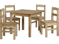 BRAND NEW waxed pine wooden dining table set with 4 chairs