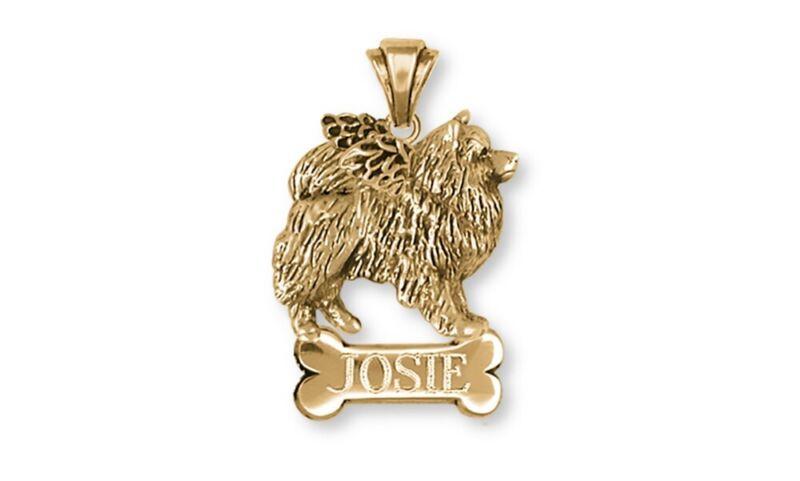 Keeshond Angel Pendant Jewelry 14k Yellow Gold Vermeil Keeshond Angel Dog Pendan