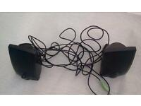 Pair of stereo speakers, good sturdy construction, but no power supply
