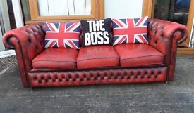 Stunning Vintage Chesterfield 3 Seater Sofa Low Back Oxblood Red Leather UK Delivery