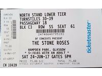 Two seated stone roses tickets