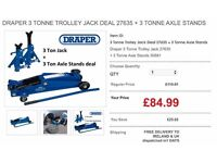 Draper Trolley Jack 3 Ton with Axle Stands JOB LOTS , WHOLE SALE AND BULK RATES AVAILABLE
