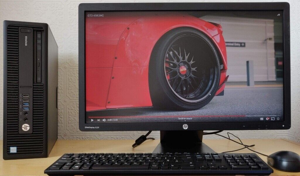 HP Elitedesk 6th Gen i5-6500 Complete PC Setup,8GB DDR4,23