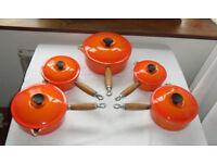 Vintage Genuine Le Creuset Saucepan Set with Original Lids - Orange Volcanic Enamelled Cast Iron