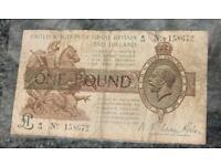 1922 Warren Fisher 1 Pound treasury banknote, Lower Grade