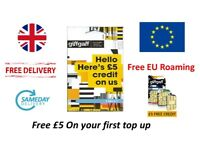 Free delivery free sim card giffgaff £5 credit included 4g Free EU Roaming