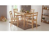 Home Raye Solid Wood Dining Table & 4 Chairs