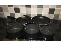 3 Saucepans (with lids), Wok and Large Frying Pan Set