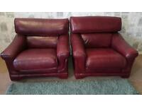 Oxblood red leather 3 piece suite. Delivery available