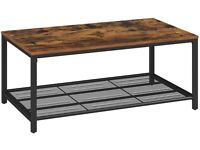 Rustic coffee table with black steel legs