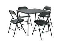 Home Quin Metal Folding Table & 4 Folding Chairs A