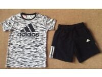 Adidas Black & White Climalite TShirt & Shorts 9 - 10 Years - Excellent Condition