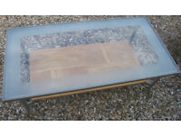 LARGE RECTANGULAR CONTEMPORARY GLASS TOP METAL FRAMED COFFEE TABLE