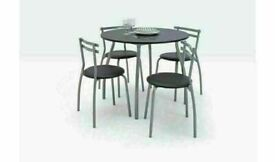 Brand New Home Leon Black Dining Table & 4 Black Chairs No930/9922