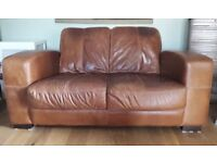 Leather 2 seater sofa & chair - DFS Biba Suite