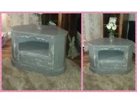 tv corner unit upcycled grey & white