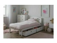 Home Mia Single Bed Frame with 2 Drawers - White A- (5307)