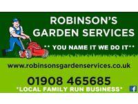 Robinson Garden Services Milton Keynes 01908 465685 Call today for a quotation