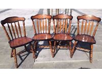 4 SOLID WOOD HEAVY CHAIRS