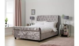 Ex display Double bed frame. Silver grey velvet. Bargain. Delivery available.
