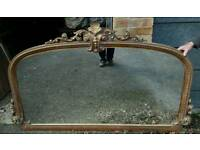 Antique over-mantel mirror
