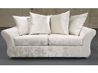 BRAND NEW IVORY CREAM WHITE / SILVER CRUSHED VELVET FABRIC 3 + 2 SEATER SOFA SET SERENA COUCH SETTEE