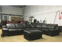 DFS jumbo BROWN leather corner sofa DELIVERY AVAILABLE