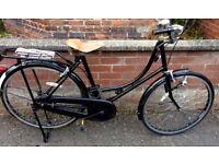 Ladies City Bike - Black bike, with brown leather look seat.