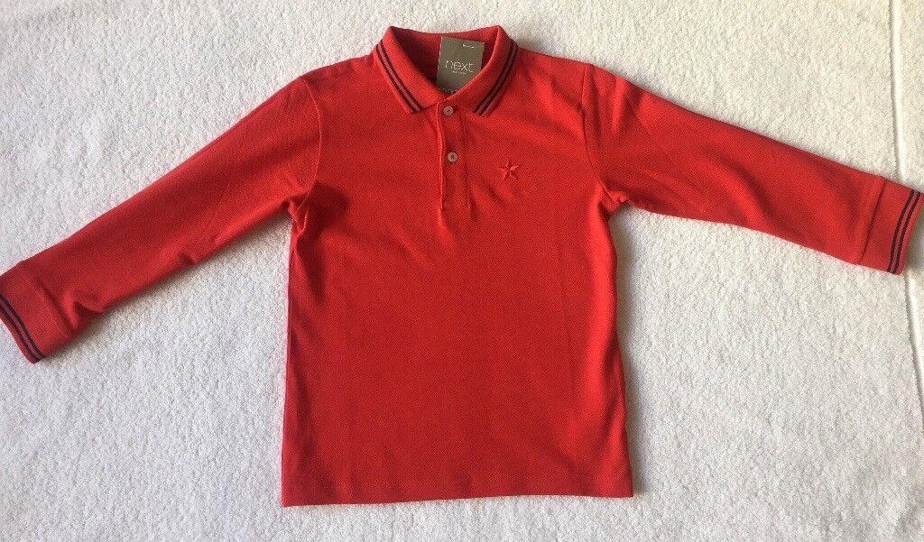 e64b05600 BNWT Next Boy Red Long Sleeve Polo Shirt 4 - 5 Years