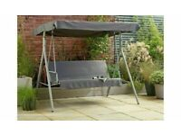 Home 3 Seater Metal Swing Chair - Grey