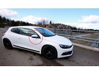 VW Scirocco Driver Side Complete Wing Mirror White with puddle floor light!!