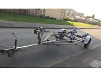 Boat trailer Brambler multi roller swing back breaked 1100kg.