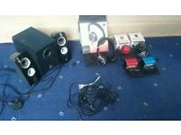 Sony headphones, logitech speaker system, 4 mini portable speakers + connection cables