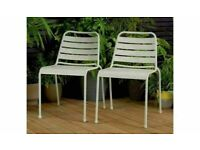 Brand New Pair of Metal Garden Chairs - Grey
