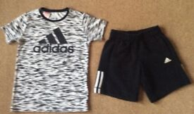 Adidas Blsck & White Climalite TShirt & Shorts 9 - 10 Years - Excellent Condition