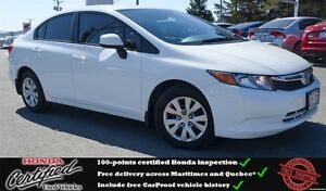 2012 Honda Civic LX, Bluetooth, 6yrs/120 000km Warranty !!