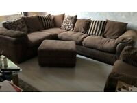 DFS Corner sofa, chair and storage footstool