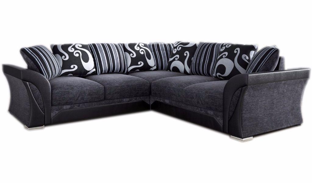 New Shannon Farrow Corner Sofa Grey Black Fabric Leather