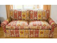 Large 2 seater sofa and armchair with feather cushions and washable, removable covers