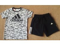 Adidas Black & White Climalite TShirt & Shorts 9 - 10 Years
