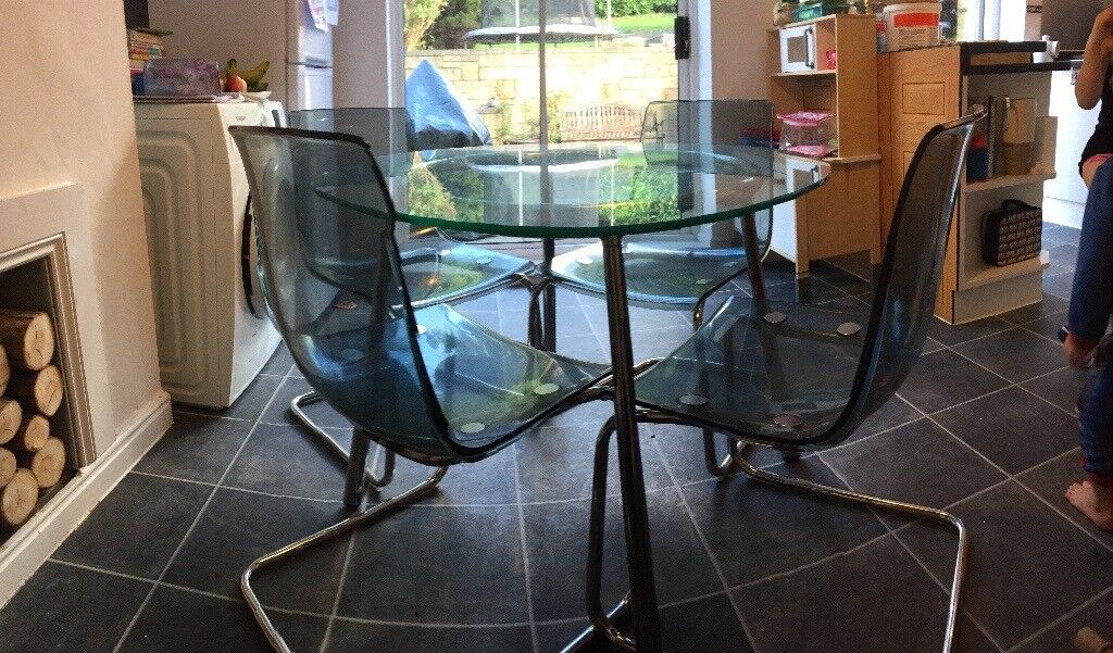 Round Glass Dining Table And 4 Chairs (Ikea Salmi Table And Tobias Chairs)