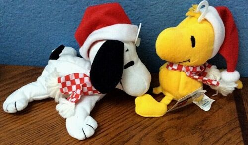 "Peanuts Snoopy Woodstock Christmas Set Applause Bean Bag 6"" Plush Stuffed Toy"