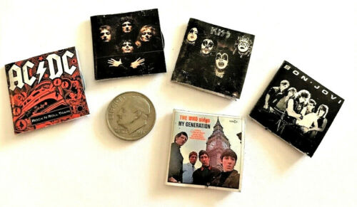 """Dollhouse Miniature Overstock Lot Sale - """"Record"""" Albums with """"Records"""" #8 1:12"""