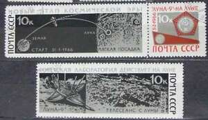 RUSSIA & USSR 1966 -ZNo Scott 3274-76 - Soft landing on the moon by Luna 9, - <span itemprop=availableAtOrFrom>Kraków, Polska</span> - RUSSIA & USSR 1966 -ZNo Scott 3274-76 - Soft landing on the moon by Luna 9, - Kraków, Polska